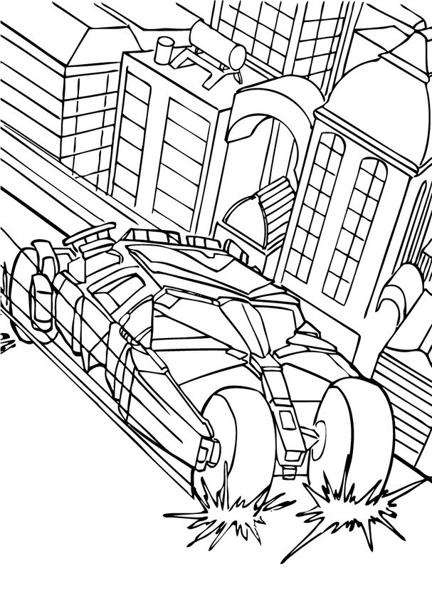 Batmobile Coloring Pages  Batman s car in the city coloring pages Hellokids