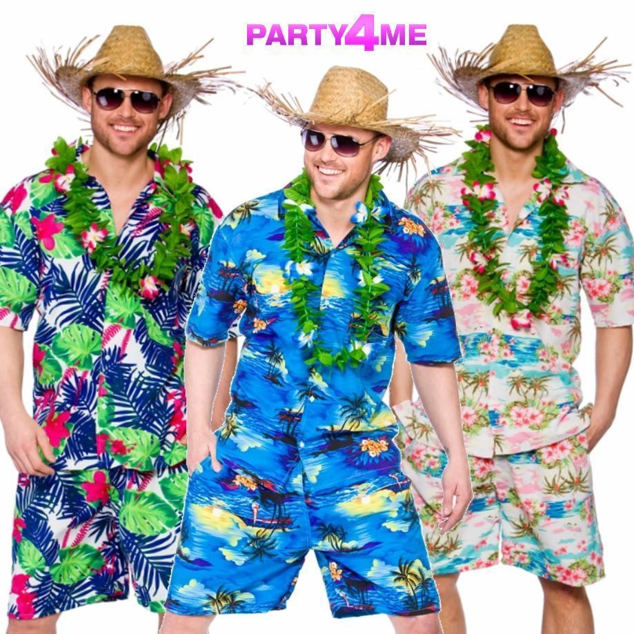 Beach Party Costume Ideas  Details about MENS HAWAIIAN SHIRT SHORTS STAG RETRO BEACH