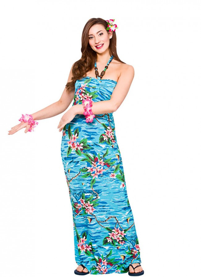 Beach Party Costume Ideas  Hawaiian Long Beach Dress Turquoise Costume