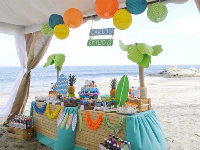 Beach Party Theme Ideas  Kara s Party Ideas Surfin Safari Surf Themed Birthday Party