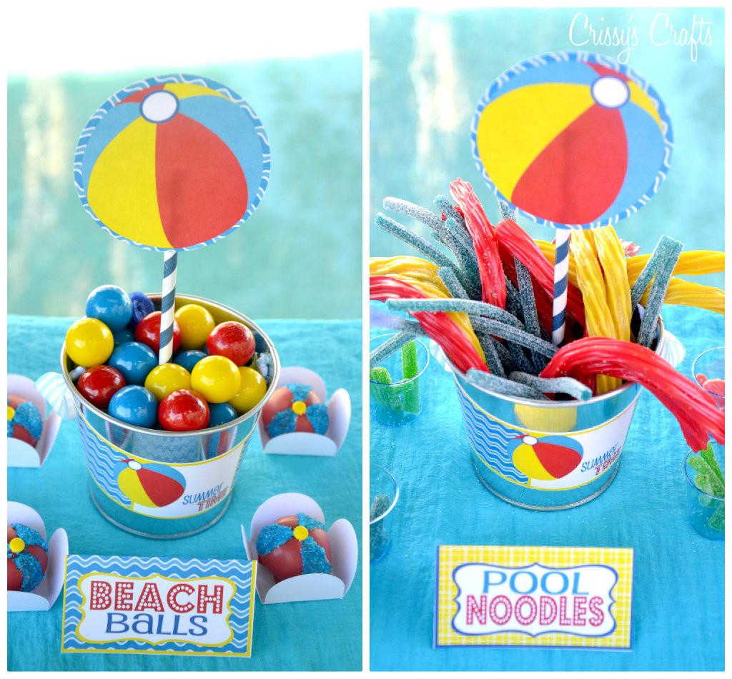 Beach Party Theme Ideas  Crissy s Crafts School s Out SPLISH SPLASH Pool Party