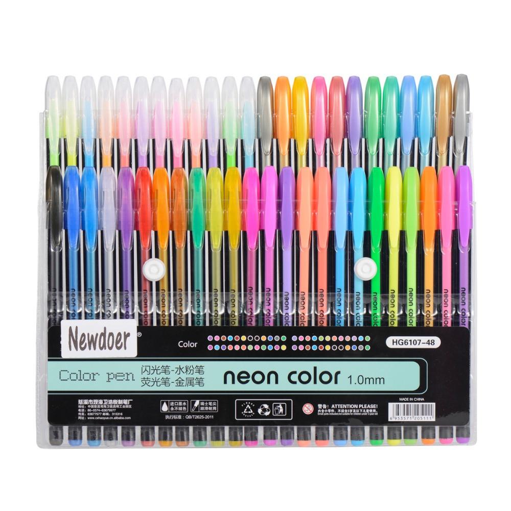 Best Pens For Coloring Books  Newdoer 48 Packs Color Gel Ink Pens The Best Gel Pens Set