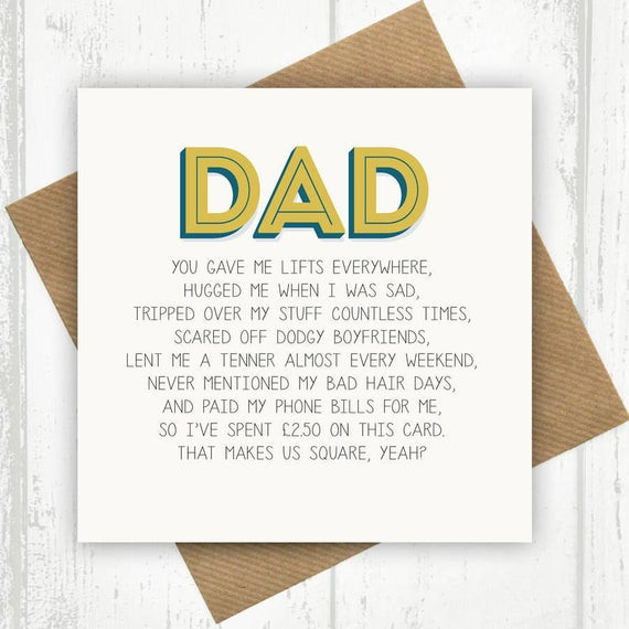 Birthday Card For Father From Daughter  Funny Dad Card Dad Birthday Card Funny Birthday Card for