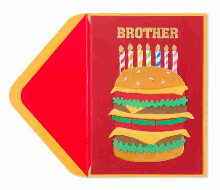 Birthday Card Ideas For Brother  Handmade Cheeseburger & Candles For Brother Family