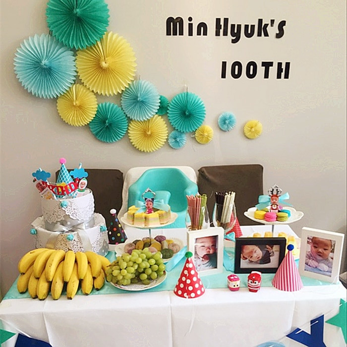 Birthday Decorations Ideas At Home  Mixed szie 10 15 20 25 30CM 1PCS Flower Origami Paper Fan