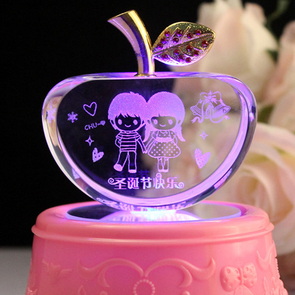 Birthday Gift Ideas For A Girlfriend  Crystal Apple Decoration Christmas Eve wedding t to