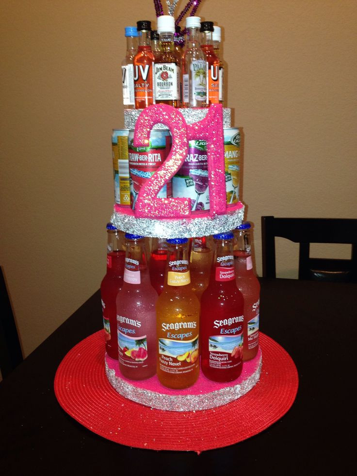 Birthday Gift Ideas For Daughter Turning 21  21st Alcohol Birthday cake DIY