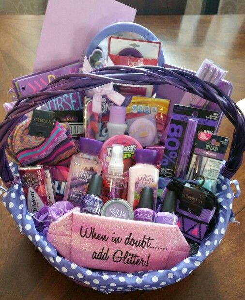 Birthday Gifts For A 16 Year Girl  Sweet 16 all purple basket Gift ideas