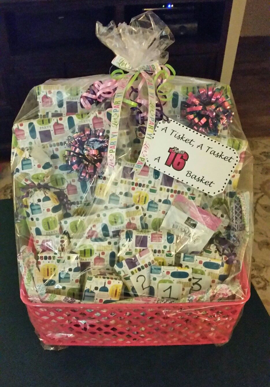 Birthday Gifts For A 16 Year Girl  A Tisket A Tasket A Sweet 16 Basket Filled with 16