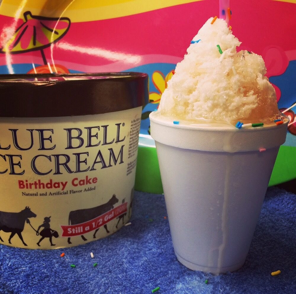 Blue Bell Birthday Cake Ice Cream  Our May special Birthday Cake Snowball stuffed with Blue