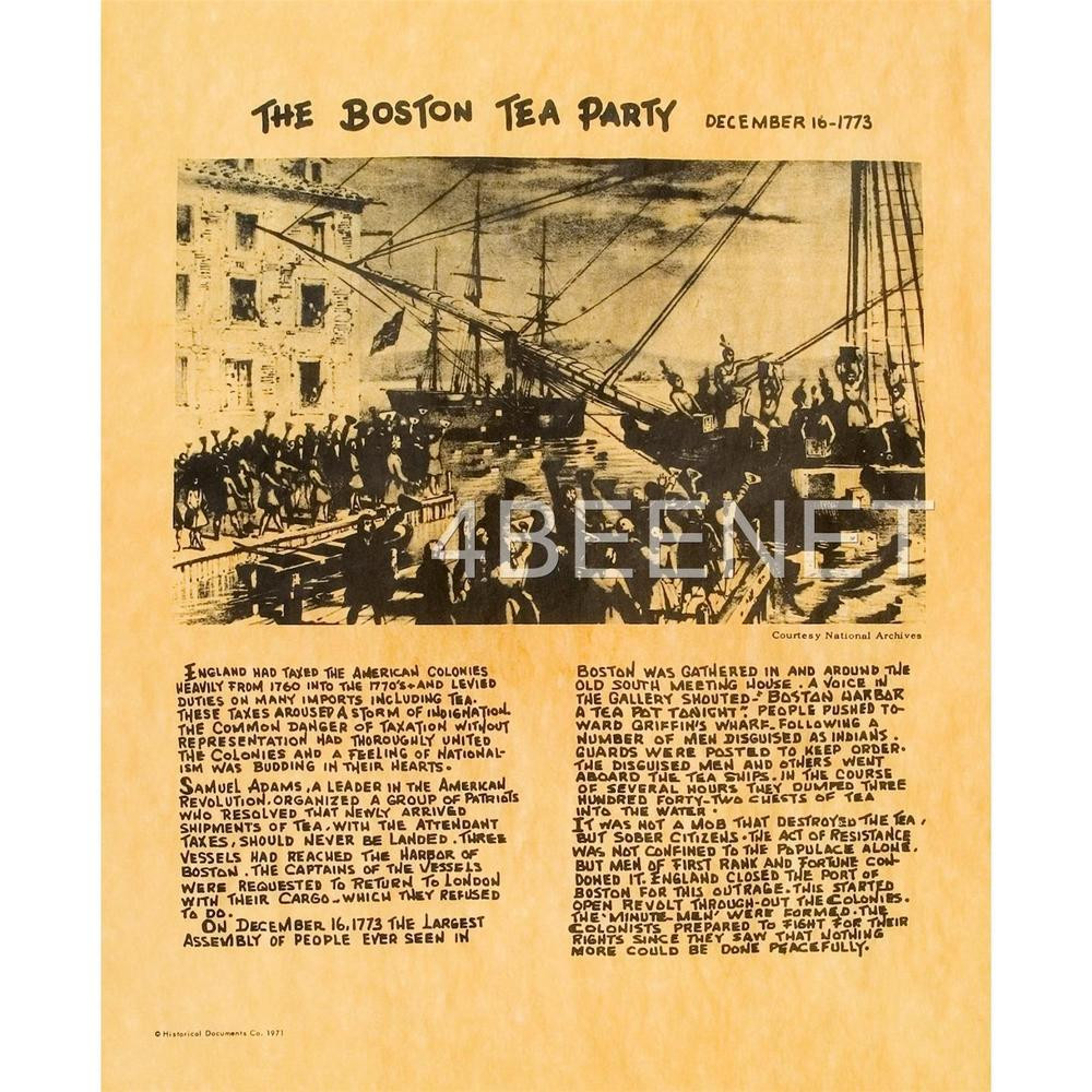 Boston Tea Party Poster Ideas  BOSTON TEA PARTY pictoral history poster PARCHMENT PRINT