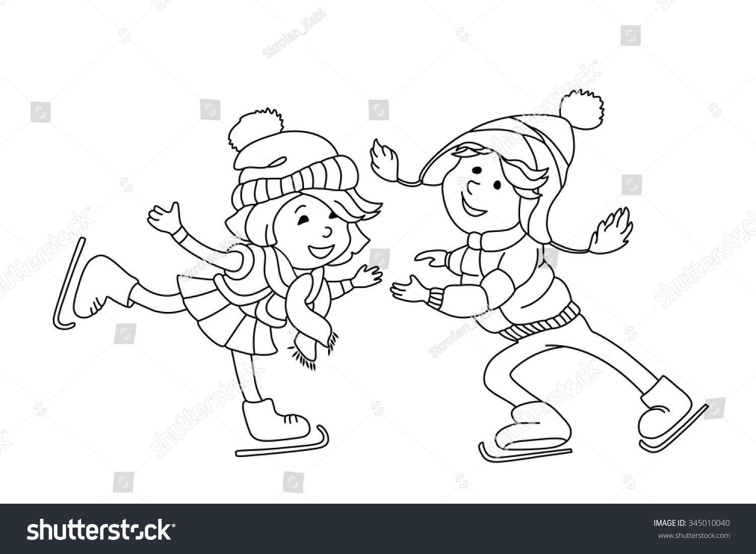 Boys Skating In Winter Coloring Pages  Boy And Girl Skating Ice Outline Cartoon Character For