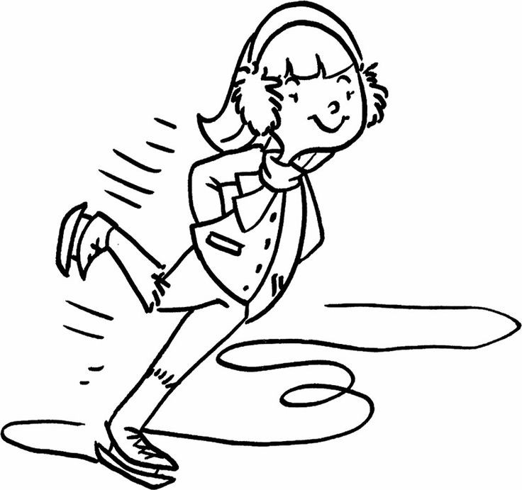 Boys Skating In Winter Coloring Pages  The Boy Enjoy Ice Skating Coloring Page