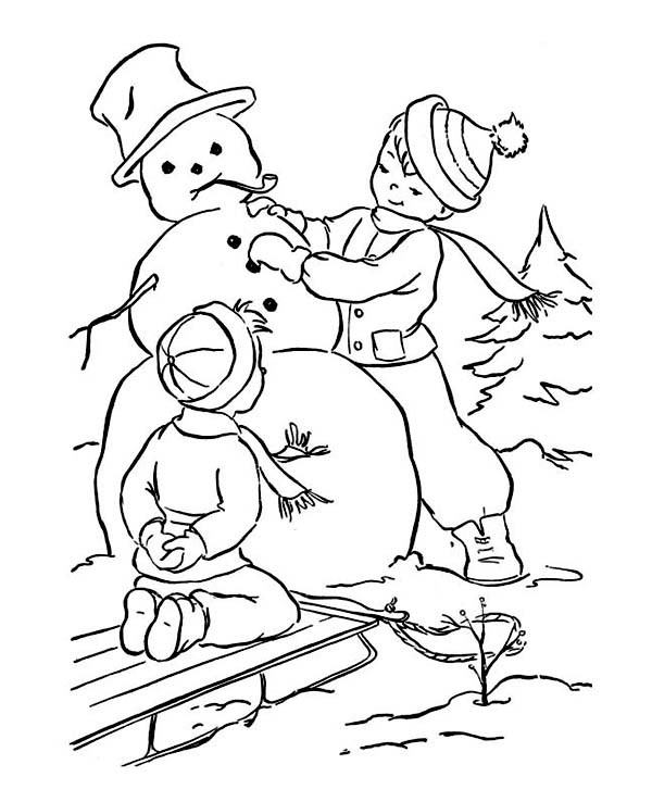 Boys Skating In Winter Coloring Pages  Two Little Boy Making Mr Snowman on Winter Coloring Page