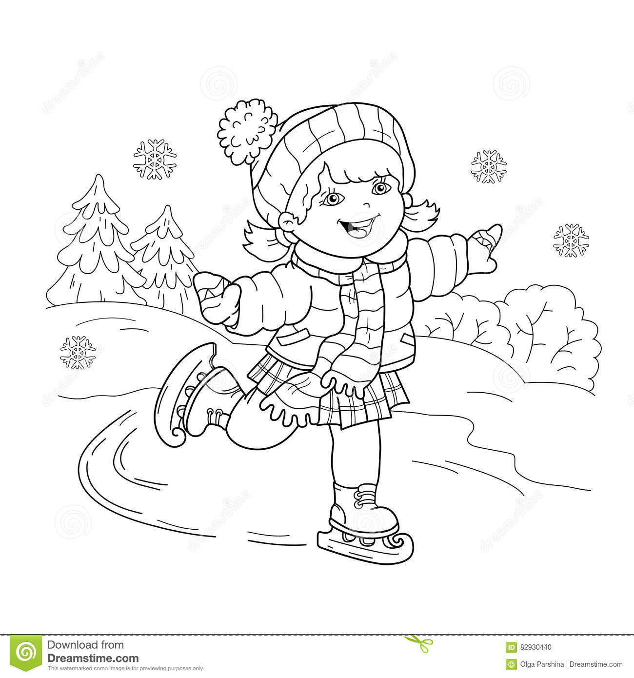Boys Skating In Winter Coloring Pages  Coloring Page Outline Cartoon Girl Skating Winter