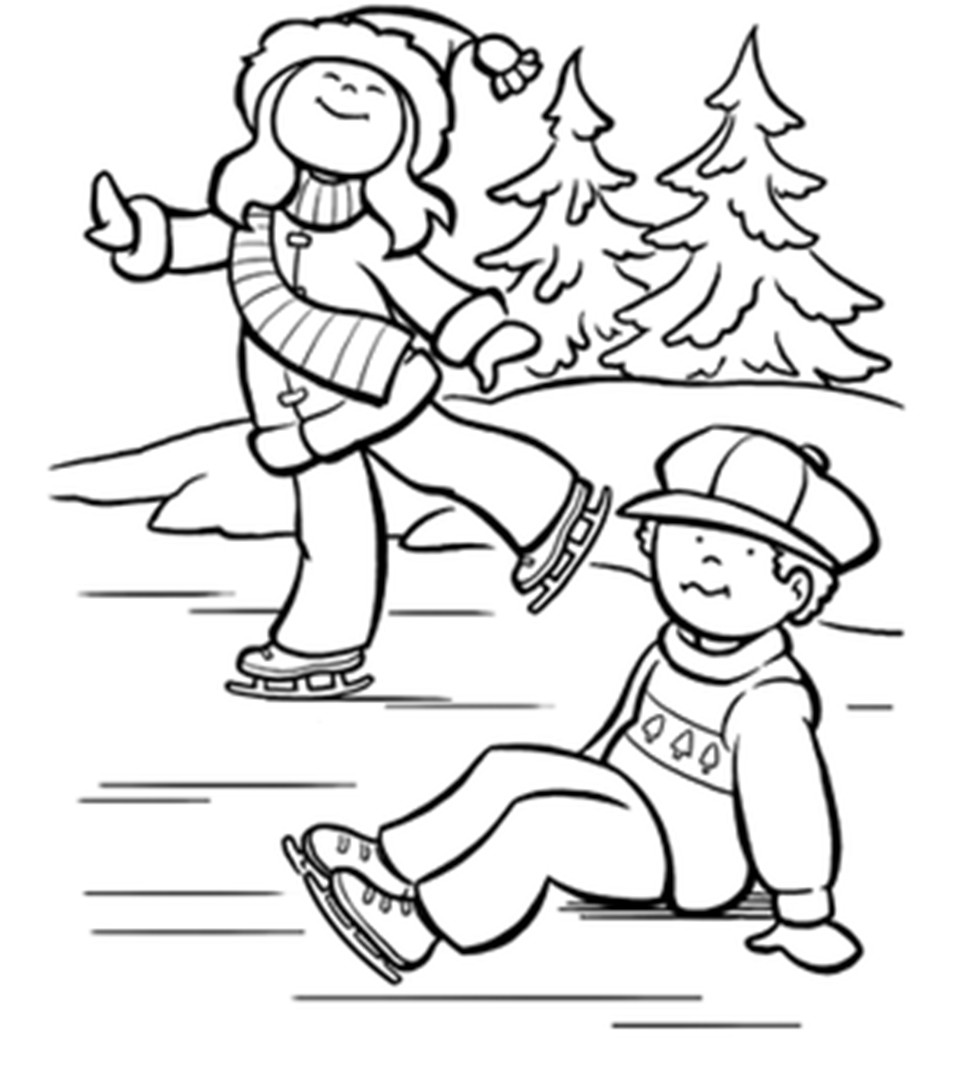 Boys Skating In Winter Coloring Pages  Ice Skater Coloring Page Coloring Home