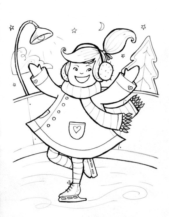 Boys Skating In Winter Coloring Pages  Winter Coloring Big Snowball Winter Coloring Pages For
