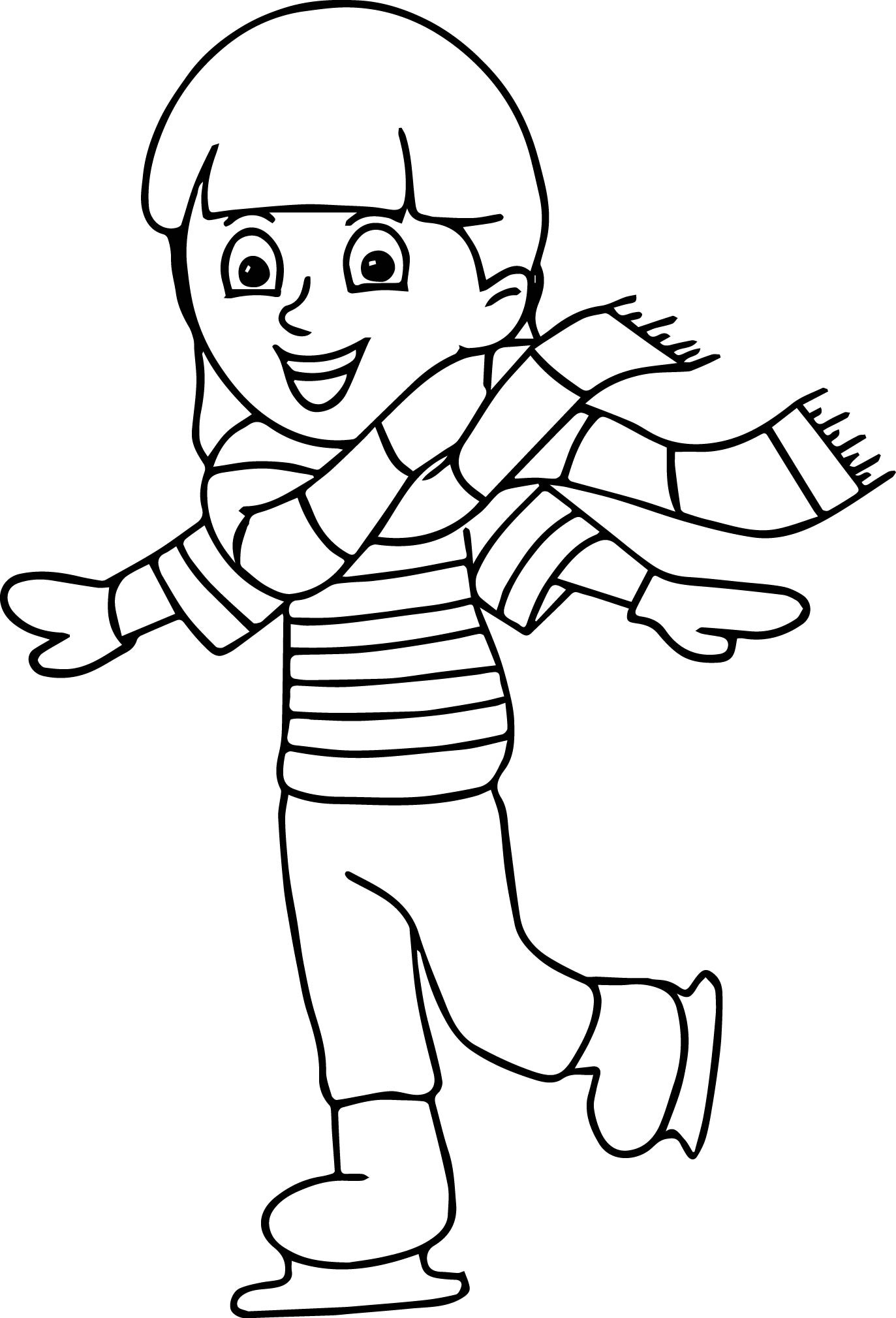 Boys Skating In Winter Coloring Pages  Winter Sport Ice Skating Coloring Page