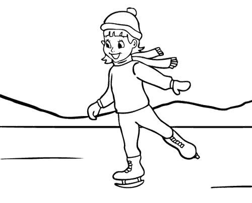 Boys Skating In Winter Coloring Pages  Girl Ice Skating Coloring Page Ice Skating
