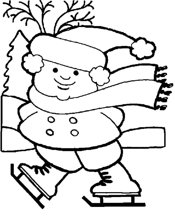 Boys Skating In Winter Coloring Pages  Little Boy Ice Skating Holidays Coloring Pages