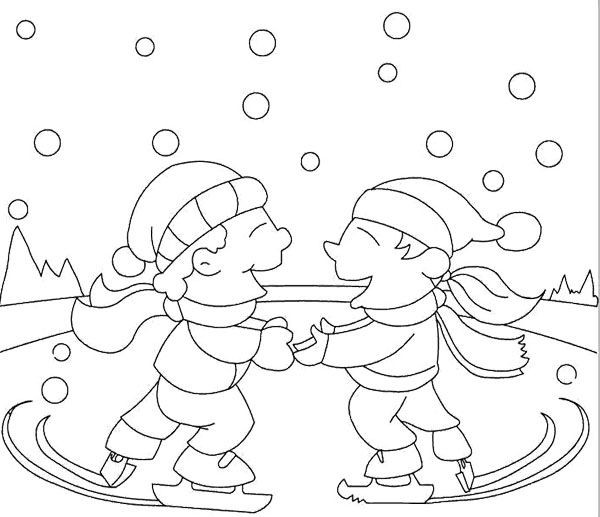 Boys Skating In Winter Coloring Pages  Two Boy Ice Skating Winter Coloring Page KidsyColoring
