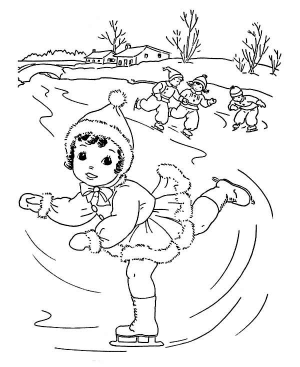Boys Skating In Winter Coloring Pages  Winter Coloring Pages