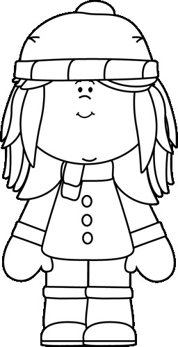 Boys Skating In Winter Coloring Pages  Black and White Winter Girl Clip Art Black and White
