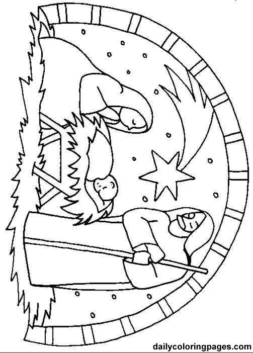 Christmas Nativity Coloring Pages  scene bible