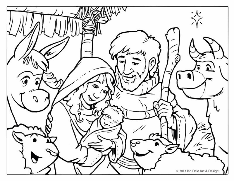 Christmas Nativity Coloring Pages  Ian Dale Art & Design