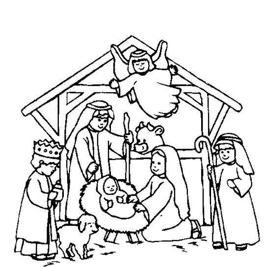 Christmas Nativity Coloring Pages  Nativity Scene Coloring Page