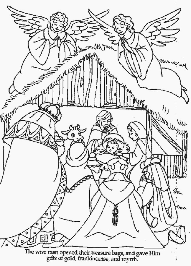 Christmas Nativity Coloring Pages  XMAS COLORING PAGES