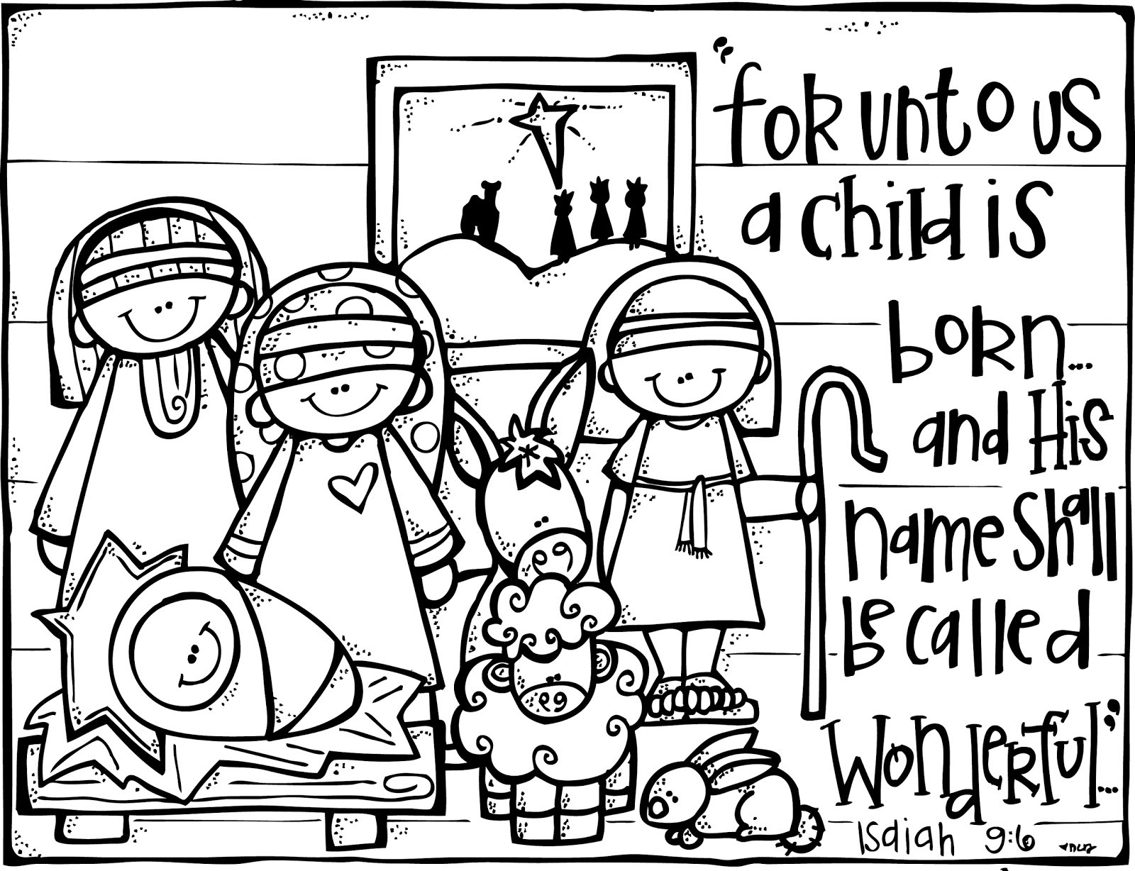 Christmas Nativity Coloring Pages  MelonHeadz Freebies Christmas