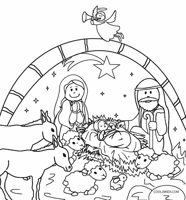 Christmas Nativity Coloring Pages  Printable Nativity Scene Coloring Pages for Kids