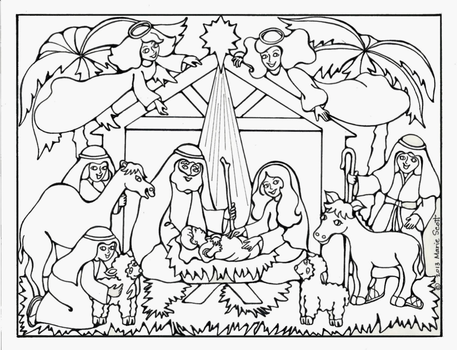 Christmas Nativity Coloring Pages  Serendipity Hollow Nativity Coloring Book Page