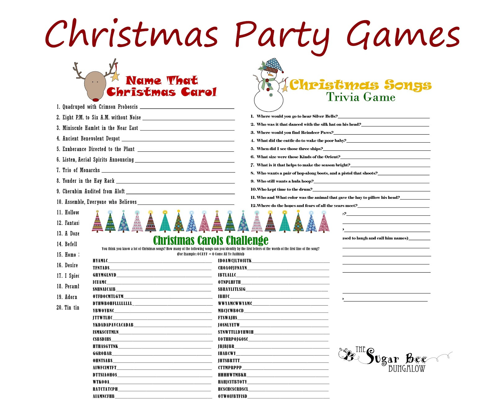 Christmas Party Activity Ideas  The Sugar Bee Bungalow December 2012