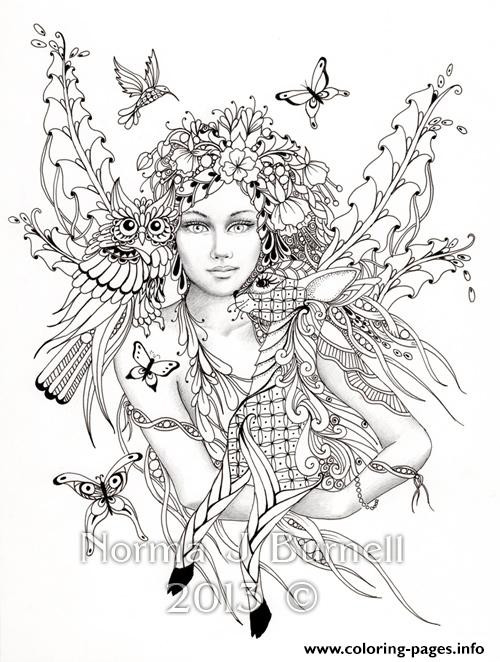 Coloring Pages For Adults Difficult Fairies  Difficult Fairies With Bird Nature Flowers Coloring Pages