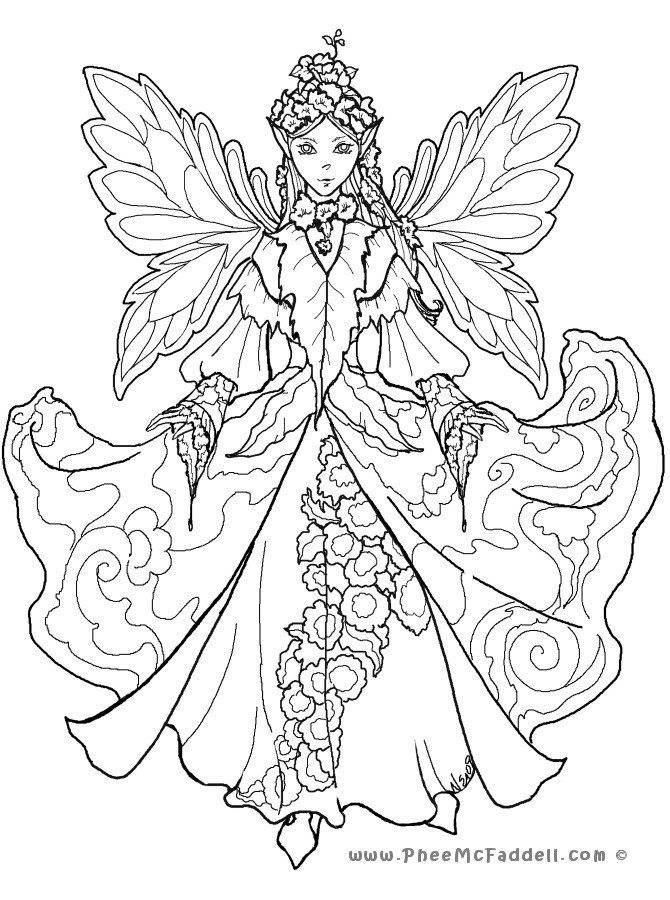 Coloring Pages For Adults Difficult Fairies  Fairy Coloring Pages For Adults Coloring Home