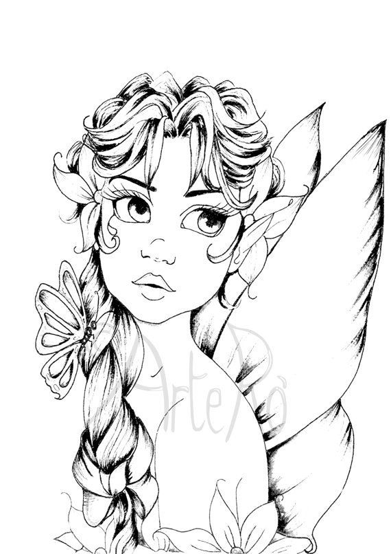 Coloring Pages For Adults Difficult Fairies  Fairy coloring page The Art Therapy … coloring