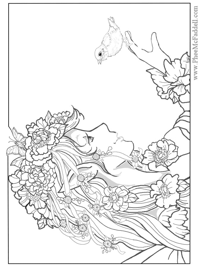 Coloring Pages For Adults Difficult Fairies  Enchanted Designs Fairy & Mermaid Blog Free Fairy Fantasy