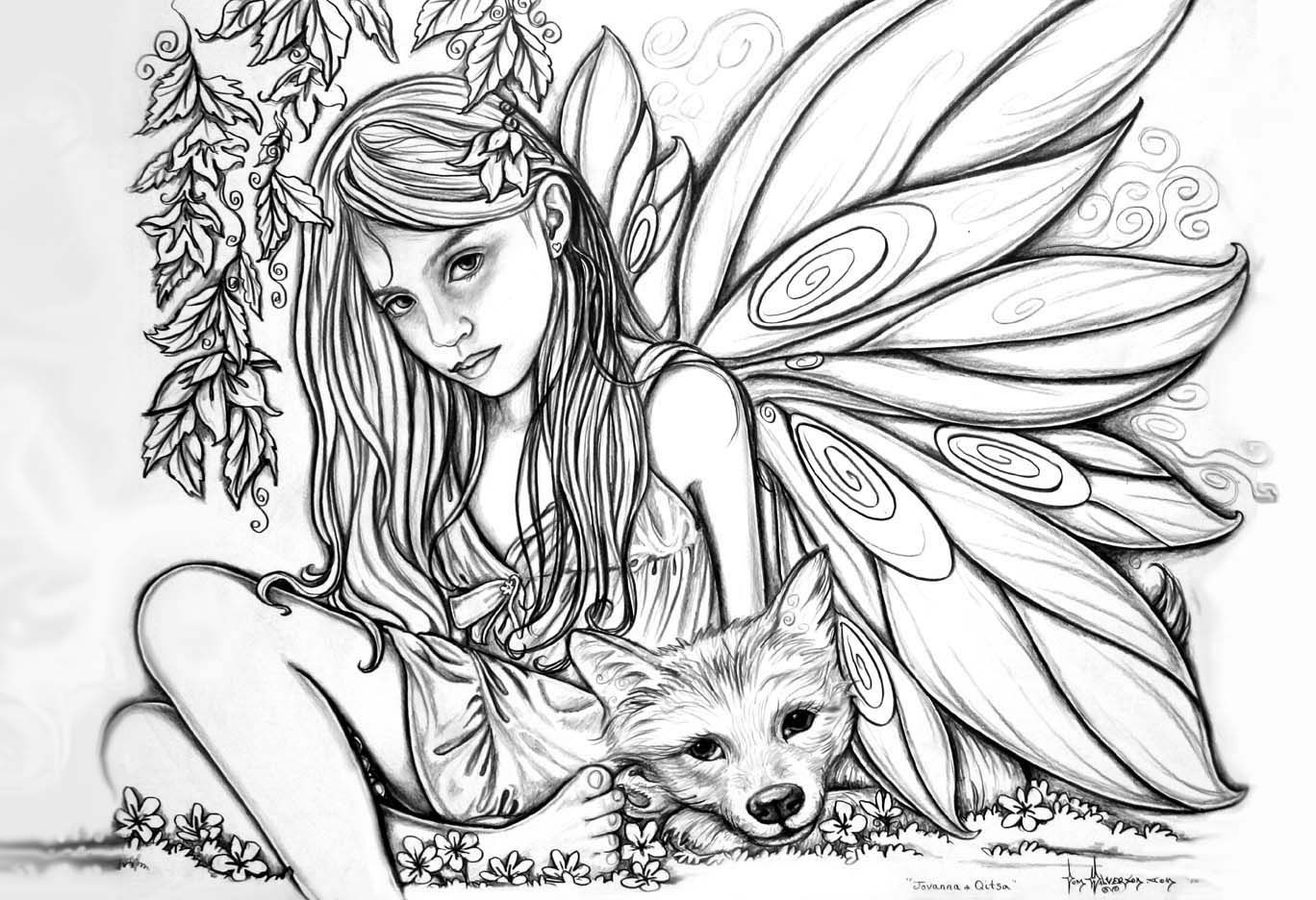 Coloring Pages For Adults Difficult Fairies  Printable Difficult Coloring Pages Coloring Home