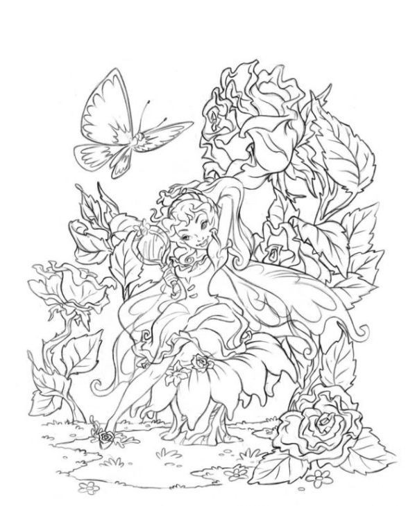 Coloring Pages For Adults Difficult Fairies  very difficult and detailed Fairy coloring pages for