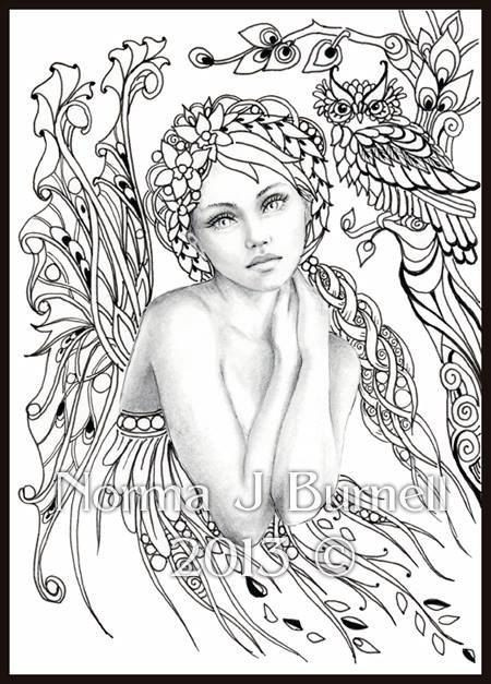 Coloring Pages For Adults Difficult Fairies  Norma Burnell Blank Coloring Pages