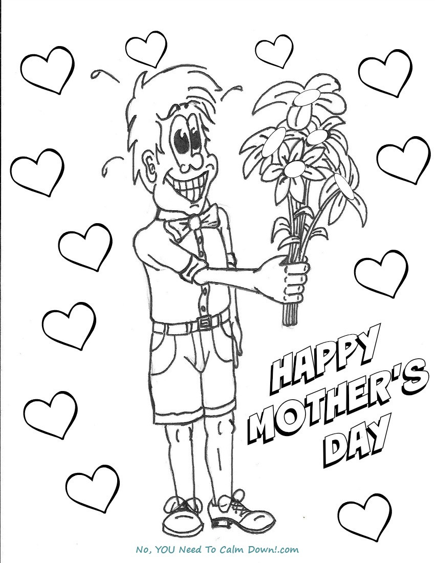 Coloring Pages For Boys Calm  Boy With Flowers Mother s Day Coloring Page Free