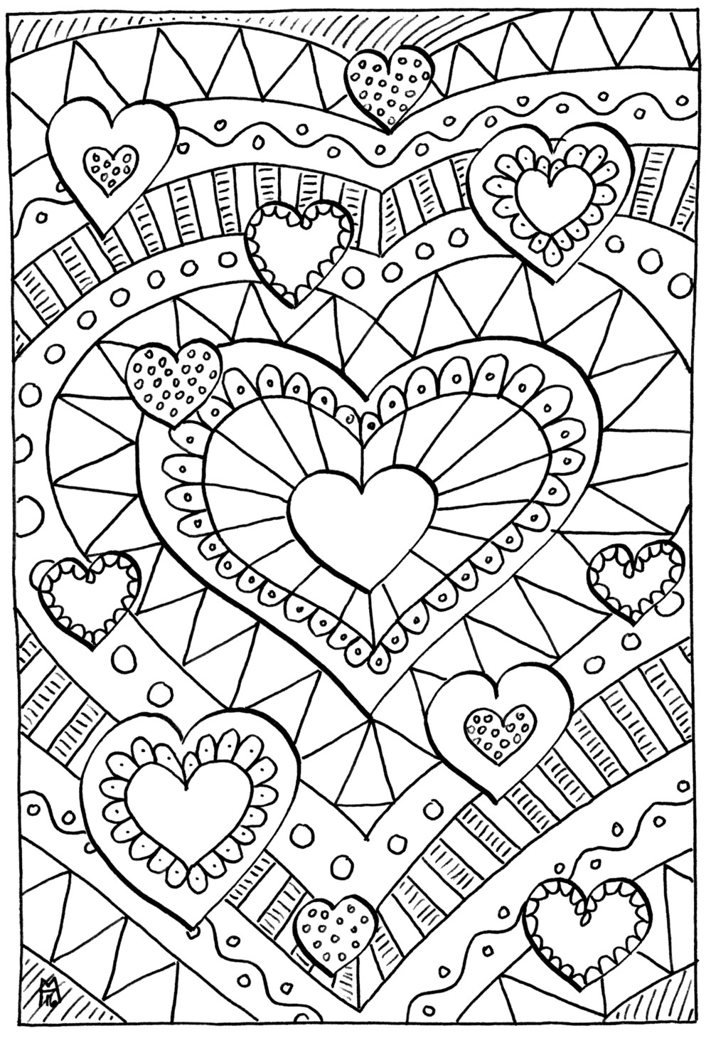 Coloring Pages For Boys Calm  Healing Hearts Coloring Page