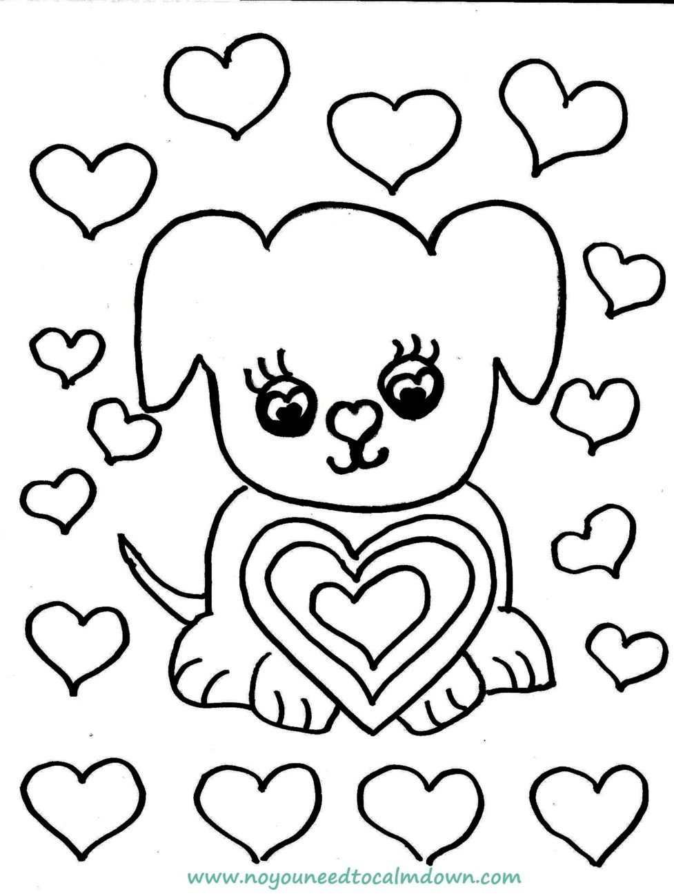 Coloring Pages For Boys Calm  Cute Dog Valentine s Day Coloring Page Free Printable