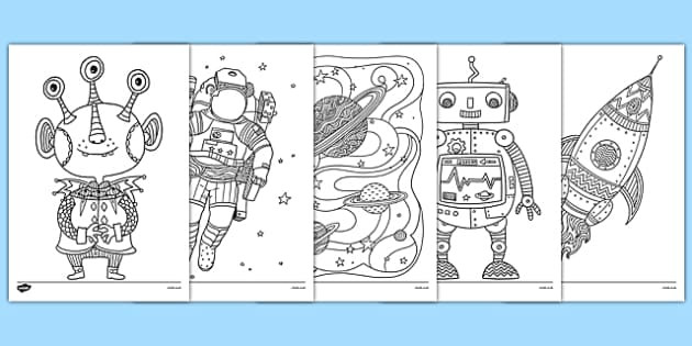 Coloring Pages For Boys Calm  Space Themed Mindfulness Colouring Pages