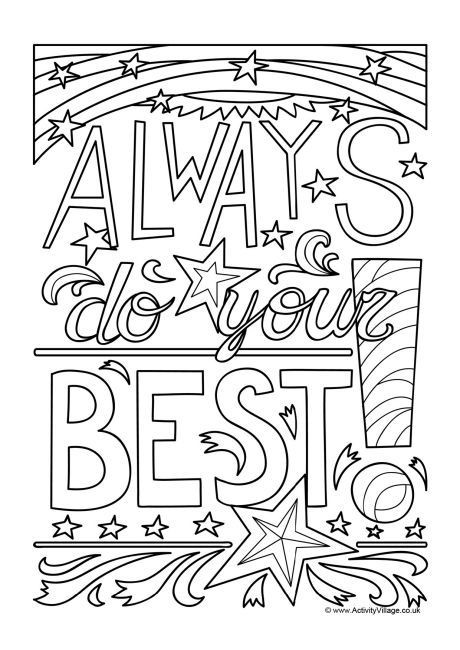 Coloring Pages For Boys Calm  Always Do Your Best An inspiring colouring page for