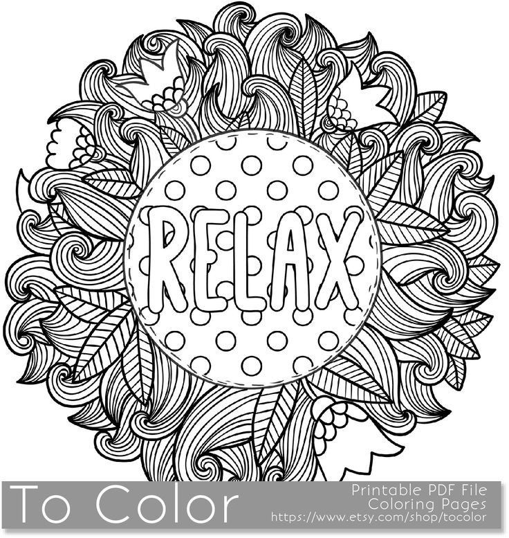 Coloring Pages For Boys Calm  Printable Relax Coloring Page for Adults PDF JPG
