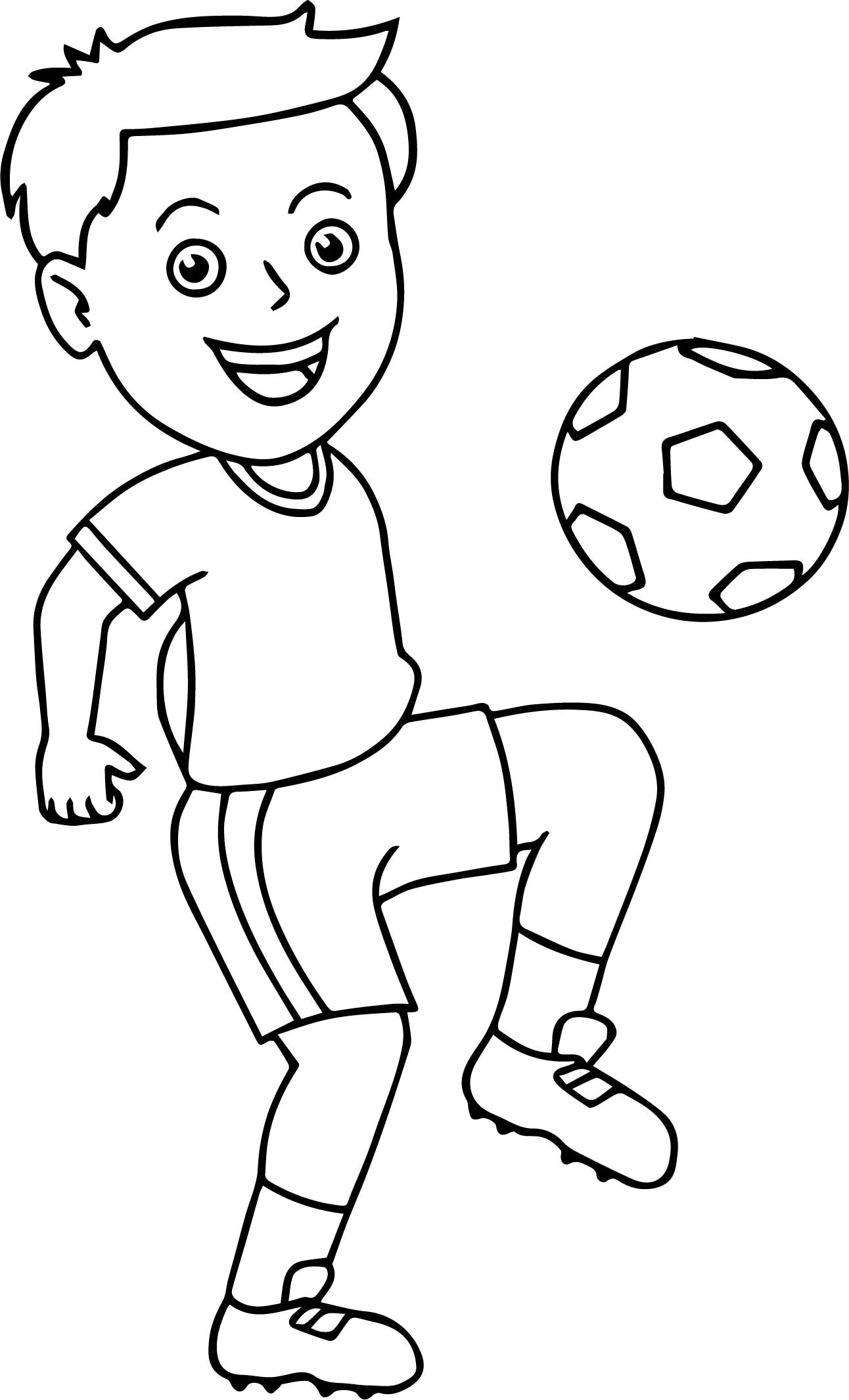 Coloring Pages For Boys Football Players  Soccer Boy Bouncing Soccer Ball His Knee Playing