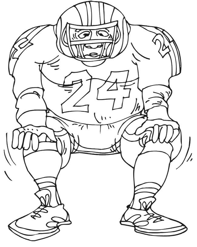 Coloring Pages For Boys Football Players  Football Player Number 24 Coloring Page